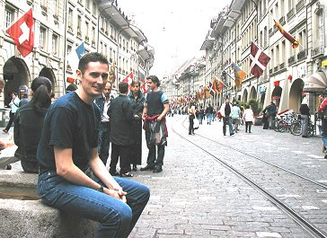 Lizzie's g. grandson, Rod Schwald, visits her birth city, Bern 2003.