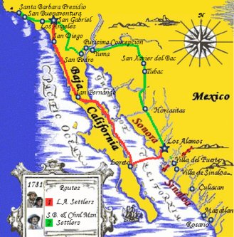 1781 Alamos to Msn. San Gabriel - Group One & Two's Routes